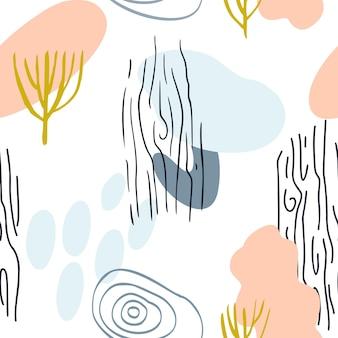 Teste padrão abstrato com formas orgânicas em amarelo mostarda de cor pastel, rosa. fundo orgânico do vetor. padrão sem emenda dos anos 80 com a natureza, textura de madeira. têxtil moderno, papel de embrulho, design de arte de parede