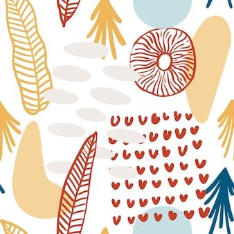 Teste padrão abstrato com formas orgânicas em tons pastel, amarelo, vermelho. fundo orgânico com manchas. padrão sem emenda de colagem com textura da natureza. têxtil moderno, papel de embrulho, design de arte de parede