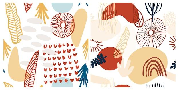 Teste padrão abstrato definido com formas orgânicas em tons pastel, amarelo, vermelho. fundo orgânico com manchas. padrão sem emenda de colagem com textura da natureza. têxtil moderno, papel de embrulho, design de arte de parede