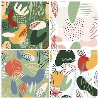 Teste padrão abstrato definido com formas orgânicas em tons pastel de azul, verde. fundo orgânico com manchas, listras. padrão sem emenda de colagem com textura da natureza. têxtil moderno, papel de embrulho, arte na parede.