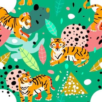 Teste padrão abstrato exótico com folhas e tigres.