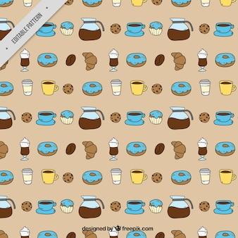 Teste padrão agradável com doces e café