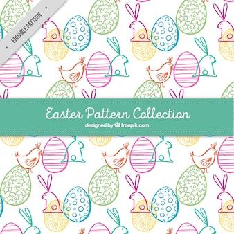 Teste padrão animal bonito e desenhadas mão ovos de páscoa