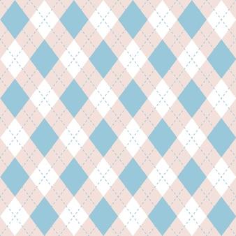 Teste padrão azul da manta sem emenda do argyle. verificação de diamante.