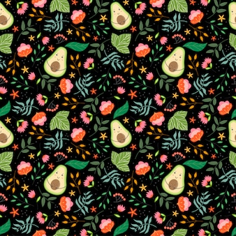 Teste padrão bonito com abacates, plantas e flores no fundo preto.
