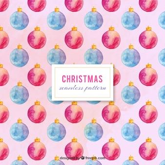 Teste padrão bonito com esferas do natal pintada com aguarela