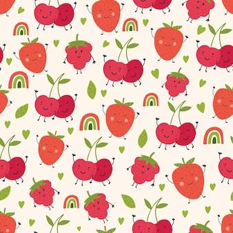 Teste padrão bonito com fundo bege de morangos cerejas padrão bonito de vetor para papel têxtil
