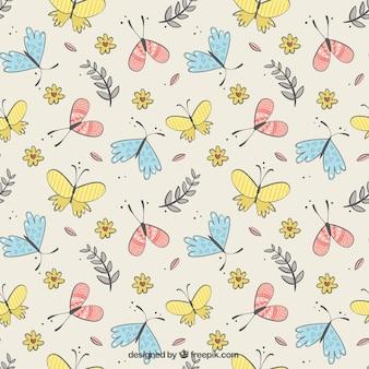 Teste padrão bonito de borboletas e flores