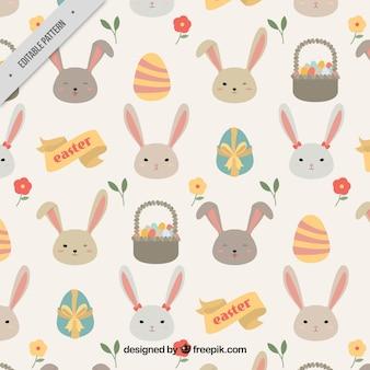 Teste padrão bonito de coelhos e ovos de páscoa