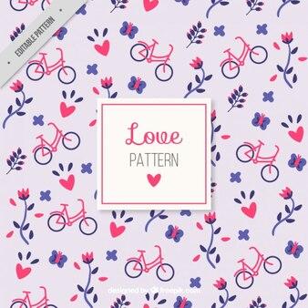 Teste padrão bonito do amor com flores e bicicletas