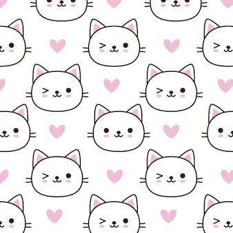Teste padrão bonito do gato da cara com coração cor-de-rosa