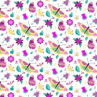 Teste padrão colorido com diferentes flores e insetos