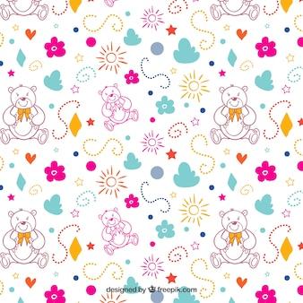 Teste padrão colorido com ursos de peluche