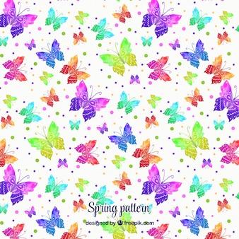 Teste padrão colorido das borboletas da aguarela