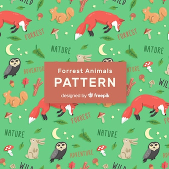 Teste padrão colorido dos animais e das palavras da floresta do doodle