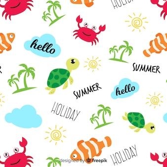Teste padrão colorido dos animais e das palavras da praia do doodle