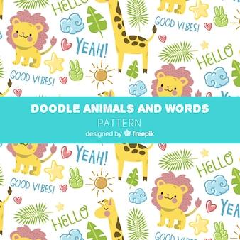 Teste padrão colorido dos animais e das palavras da selva da garatuja