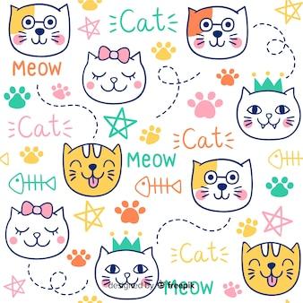 Teste padrão colorido dos gatos e das palavras do doodle