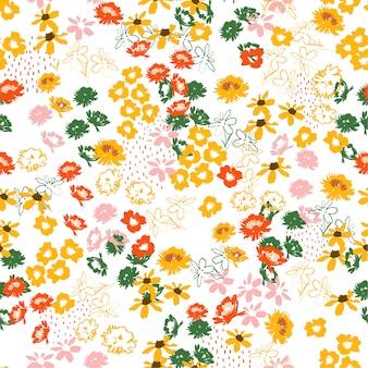 Teste padrão colorido florido colorido retro em flores em pequena escala. estilo da liberdade