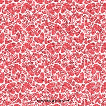 Teste padrão com corações desenhados mão
