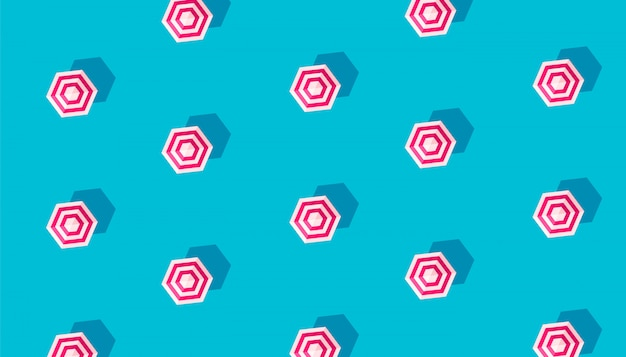 Teste padrão criativo do verão com os guarda-sóis isolados no fundo azul.