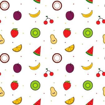 Teste padrão da linha arte moderna brilhante frutos. cor do verão