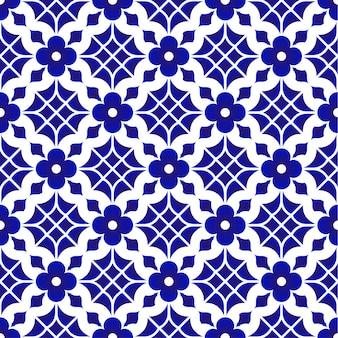 Teste padrão da telha, fundo sem emenda da flor azul e branca cerâmica, wallp bonito da porcelana