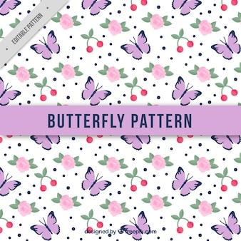 Teste padrão de borboleta com rosas e cereja
