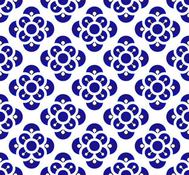 Teste padrão de flor azul e branco da porcelana estilo chinês e japonês, seamles florais cerâmicos