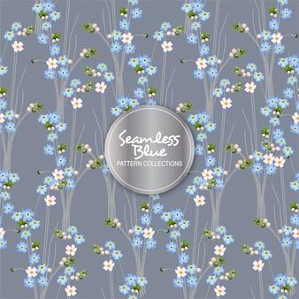 Teste padrão de flor azul sem emenda