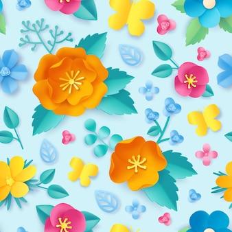 Teste padrão de flor de corte de papel. primavera laranja papoula, flores silvestres, folhas e borboleta. origami 3d da flor do prado. papel de parede sem emenda do vetor floral. lindas plantas coloridas com pétalas brilhantes