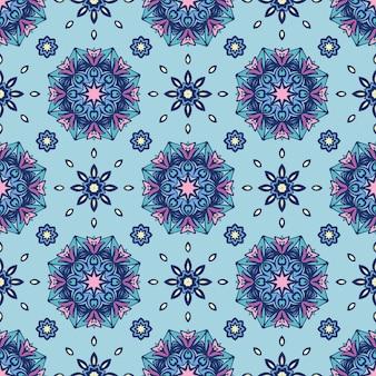Teste padrão de flor étnica em azulejos para a tela. abstrato geométrico mosaico vintage padrão sem emenda ornamental com estrelas e flocos de neve.
