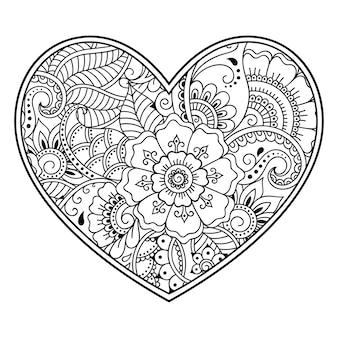 Teste padrão de flor mehndi em forma de coração com lótus. decoração em estilo étnico oriental, indiano. página do livro de colorir.