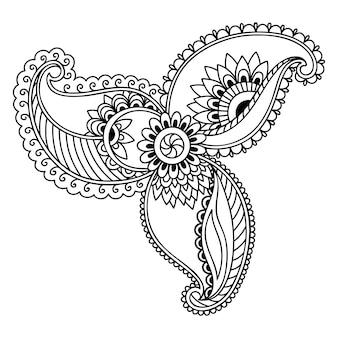 Teste padrão de flor mehndi para desenho e tatuagem de henna. decoração em estilo étnico oriental, indiano. ornamento do doodle. esboço mão desenhar ilustração vetorial.