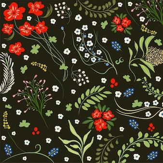Teste padrão de flor preto colorido