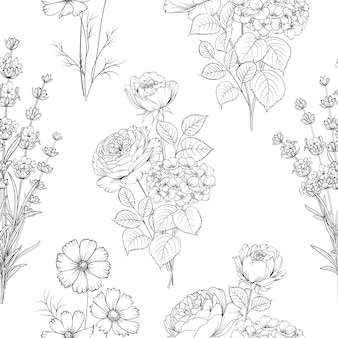 Teste padrão de flor preto e branco