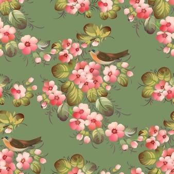Teste padrão de flor sem costura na moda com pássaros. ilustração