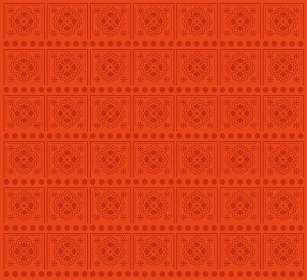 Teste padrão de flores e design de fundo vermelho.