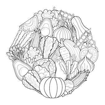 Teste padrão de formato de círculo de vegetais doodle para livro de colorir página para colorir de mandala de comida