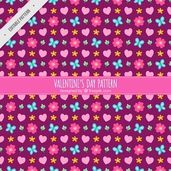 Teste padrão decorativo com flores e corações