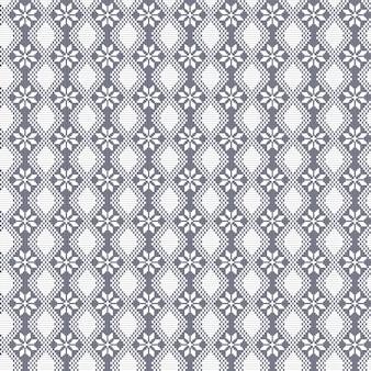 Teste padrão decorativo da flor da flora do vetor bordado sem emenda ao estilo de um tradicional como o ponto transversal feito a mão étnico. desenho geométrico