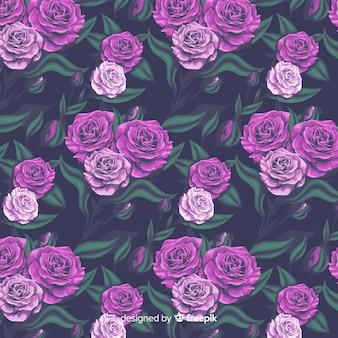 Teste padrão decorativo floral realista com rosas