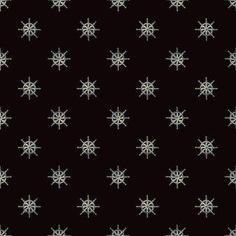 Teste padrão decorativo sem costura com elementos de roda de navio pequeno. fundo preto escuro. estilo simples. projetado para design de tecido, impressão têxtil, embalagem, capa. ilustração vetorial.