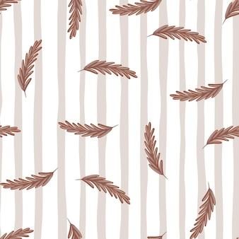 Teste padrão decorativo sem costura com espiga bege aleatória de silhuetas de trigo. fundo cinza listrado. perfeito para design de tecido, impressão têxtil, embalagem, capa. ilustração vetorial.
