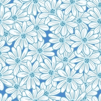 Teste padrão decorativo sem costura com ornamento de contorno aleatório de flores margarida. cenário ditsy da natureza. ilustração das ações. desenho vetorial para têxteis, tecidos, papel de embrulho, papéis de parede.
