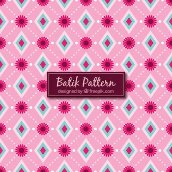 Teste padrão do batik com losangos e flores
