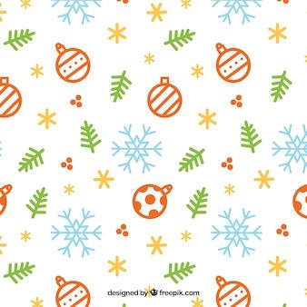 Teste padrão do natal com elementos de flocos de neve