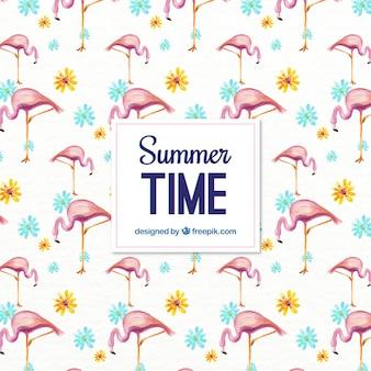 Teste padrão do verão da aguarela com flamingos e flores