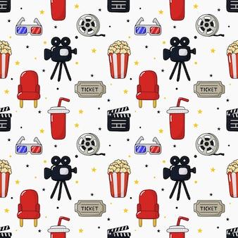 Teste padrão dos ícones do cinema sem emenda. coleção de sinais e símbolos