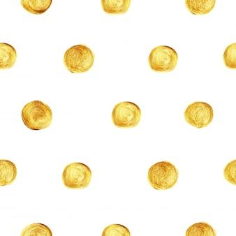 Teste padrão dourado do brilho do às bolinhas sem emenda.
